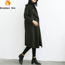 2020 Spring new 100% wool double-sided cashmere coat women's long woolen coats design coat Korean slim jacket army green coat(China)
