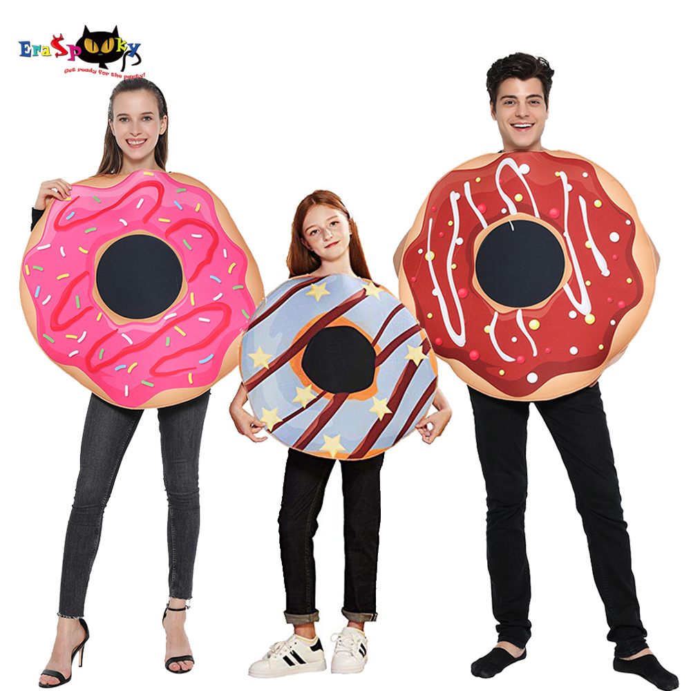 Eraspooky Sweet Donut Cosplay Funny Food Halloween Costume For Adult Women Christmas Doughnut Fancy Dress Kids Family Outfits