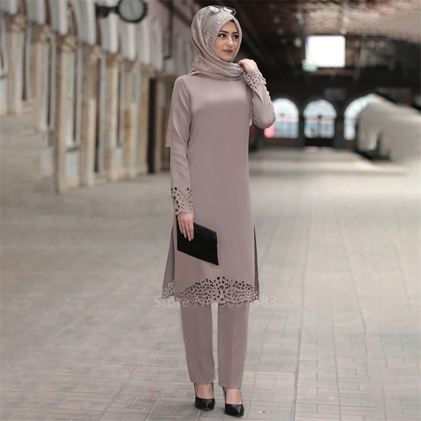 2PCS Muslim Abaya Dress Islamic Turkish Dubai Woman Solid Long Sleeve Kaftan Lady Elegant Lace Middle East Clothing Set