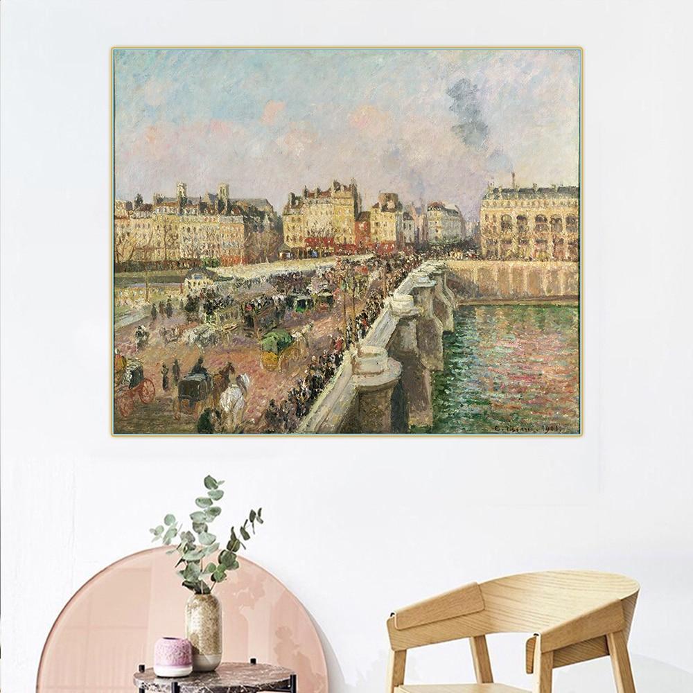 Citon Camille Pissarro 《 Afternoon Sunshine, Pont Neuf,1901 》 Canvas Art Olieverf Beroemde Art Foto Muur Decor Home Decoration