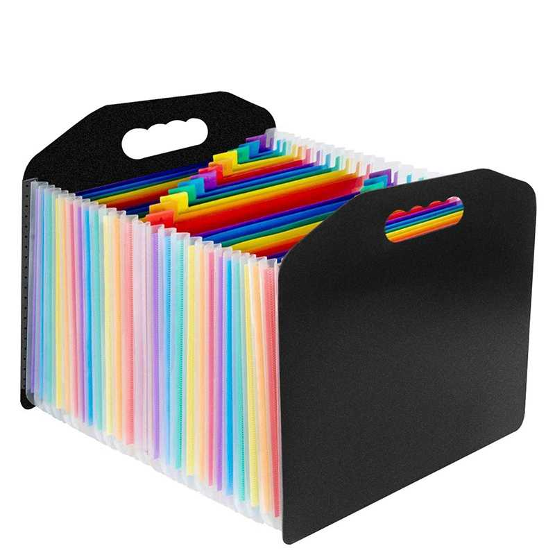 A4 File Organizer Portable Accordion Folders with Handle Suitable for Student Test Paper Clips Business Information Books A4 Size Accordion Folder for Work Office Organization