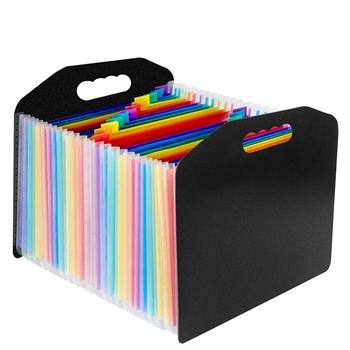 24 kieszenie rozszerzenie plików Folder akordeon przenośny A4 menedżer plików działalności kancelarii Student plastikowa teczka organizator Multicolor tanie i dobre opinie DEHMJJ Rozszerzenie portfel WJD28