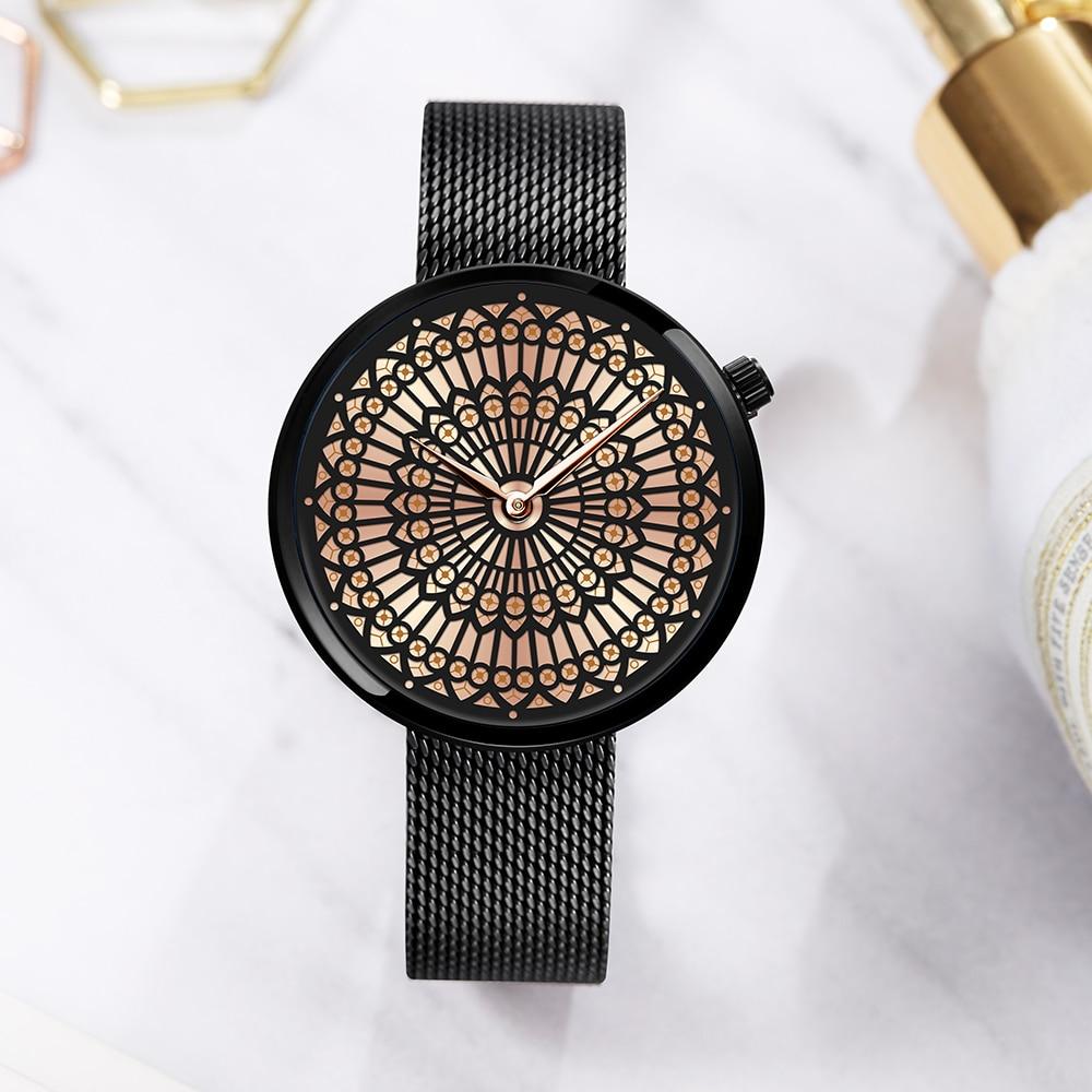 Shengke Window Grille Dial Luxury Brand Watch Women Unique Fashion Quartz Watch Steel Mesh Inimitable Watches Relogio Feminino