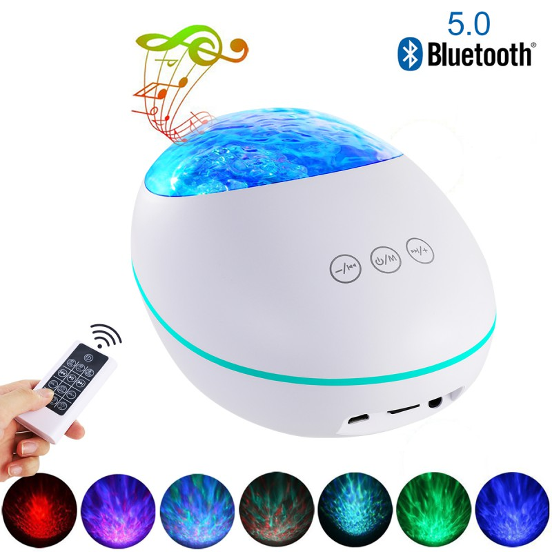 Eshoo Night Light Projector With Music Player Bluetooth 5.0 Lucky Stone Ocean Wave Projector 12 LED 8 Colors Remote Controled