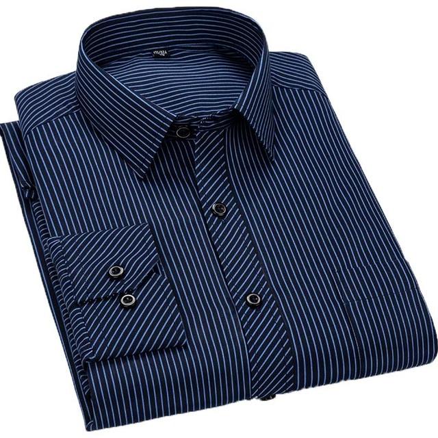 Aoliwen marque 2020 Social à manches longues rayé chemise à carreaux hommes Version mince affaires mode hommes décontracté chemise de grande taille 8XL