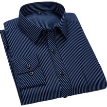 Aoliwen brand 2020 Social Long Sleeve Striped Plaid Shirt Men's