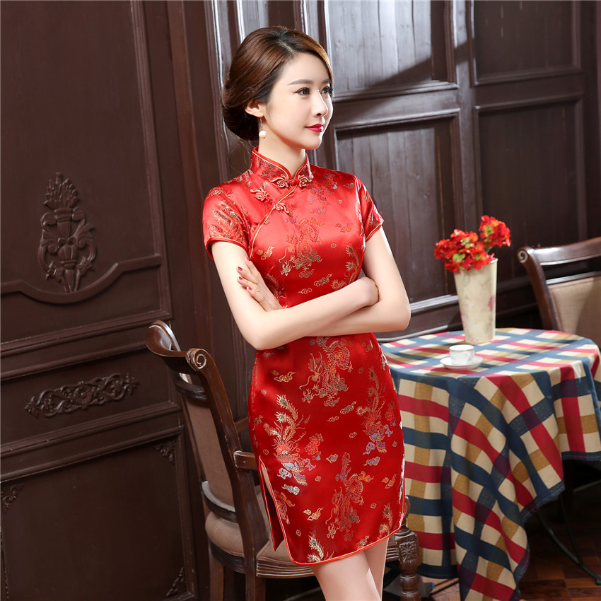 Summer New Short Sleeve Women Qipao Exquisite Dragon Phoenix Cheongsam Sexy Slim High Slit Mini Chinese Dress PLUS 4XL 5XL 6XL