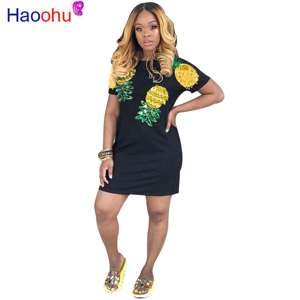 HAOOHU Summer New <font><b>Sexy</b></font> Age Reduction Style 2019 2 Color Pineapple Print Short Sleeve Office Elgant Little <font><b>Chap</b></font> Mini Dress image