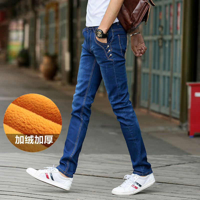 Men Thick Plus Velvet Korean-style Jeans Men's Slim Fit Youth Elasticity Skinny Pants Warm MEN'S Pants NZK