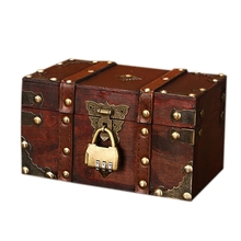 Gran oferta Retro Cofre del Tesoro con cerradura caja de almacenamiento de madera Vintage organizador de joyería de estilo antiguo para armario joyero Trin