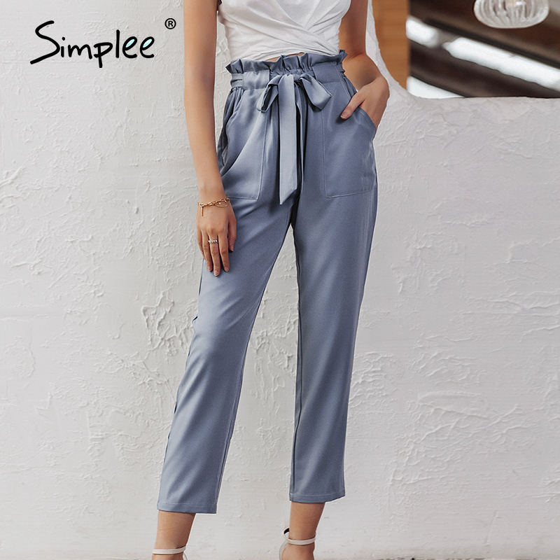 Simplee Chiffon Khaki Harem Pants Office Lady Summer Casual Pants Office Female Street Wear Sash Black Elastic High Waist Pants