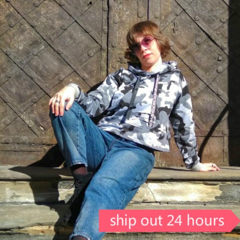 Image 3 - MERRY PRETTY Women Camouflage Printed Cropped Hoodies Sweatshirts Long Sleeve Tracksuit 2018 Autumn ArmyGreen Hooded PulloversHoodies & Sweatshirts   -