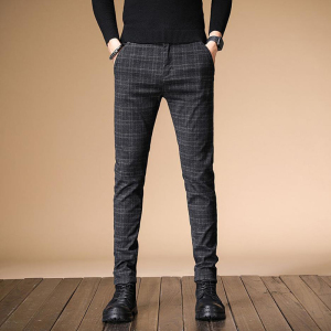 Image 3 - 2020 Autumn Upscale Men Casual Pants Thick Cotton and Linen Male Pant Straight Trousers Business Plus Size 38