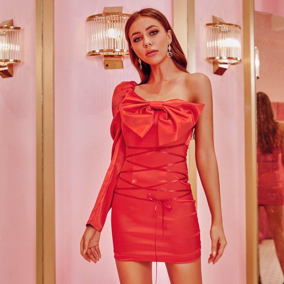 JillPeri Frauen Slash Neck Schulter Mini Kleid Sexy Strukturierte Bogen Rot  Promi Geburtstag Party Kleid Cross Strap Puff Outfit