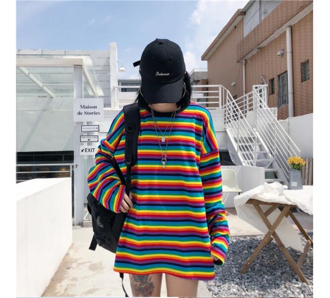 Fashion Rainbow Stripe T Shirt Autumn Harajuku Girls  Shirt Long Sleeve Oversized  Tshirts Woman Korean Tops Feminine