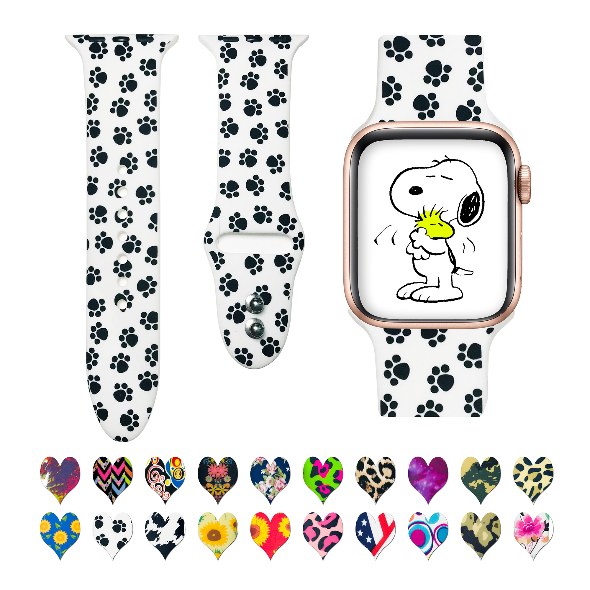 Trendy Leopard Dog Paw Silicone Rubber Strap For Apple Watch Band 654321