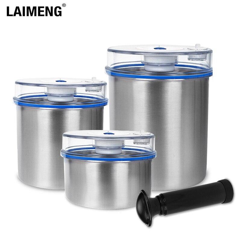 Laimeng ensembles de conteneurs sous vide pour emballage de scelleur sous vide conteneur de stockage de bidon en acier inoxydable 1300ML + 1000ML + 700ML S165