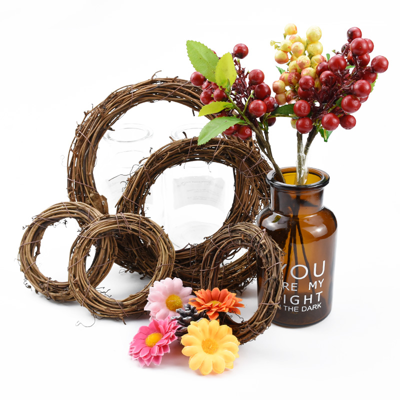 Wedding Decorative Flower Wreath Ornament Rattan Garland Door Hanging New Year Christmas Decorations For Home Tree Vine Material