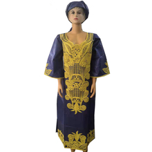 MD 2019 african dresses for women dashiki bazin riche embroidery long dress with headtie traditional clothes