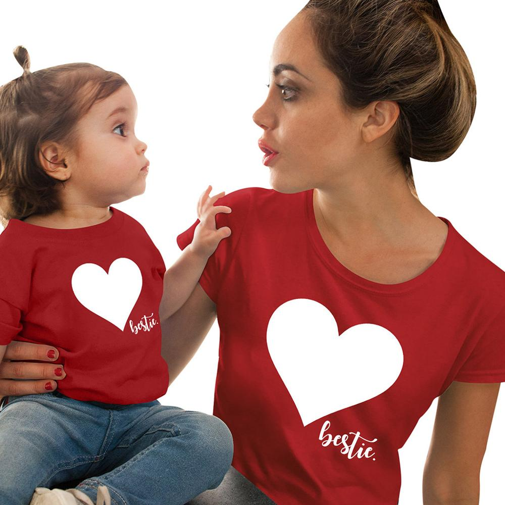 Family Matching Clothes Mommy And Me Valentine Tshirt Mother Daughter Son Outfits Women Mom Top Family Matching Outfits H0964