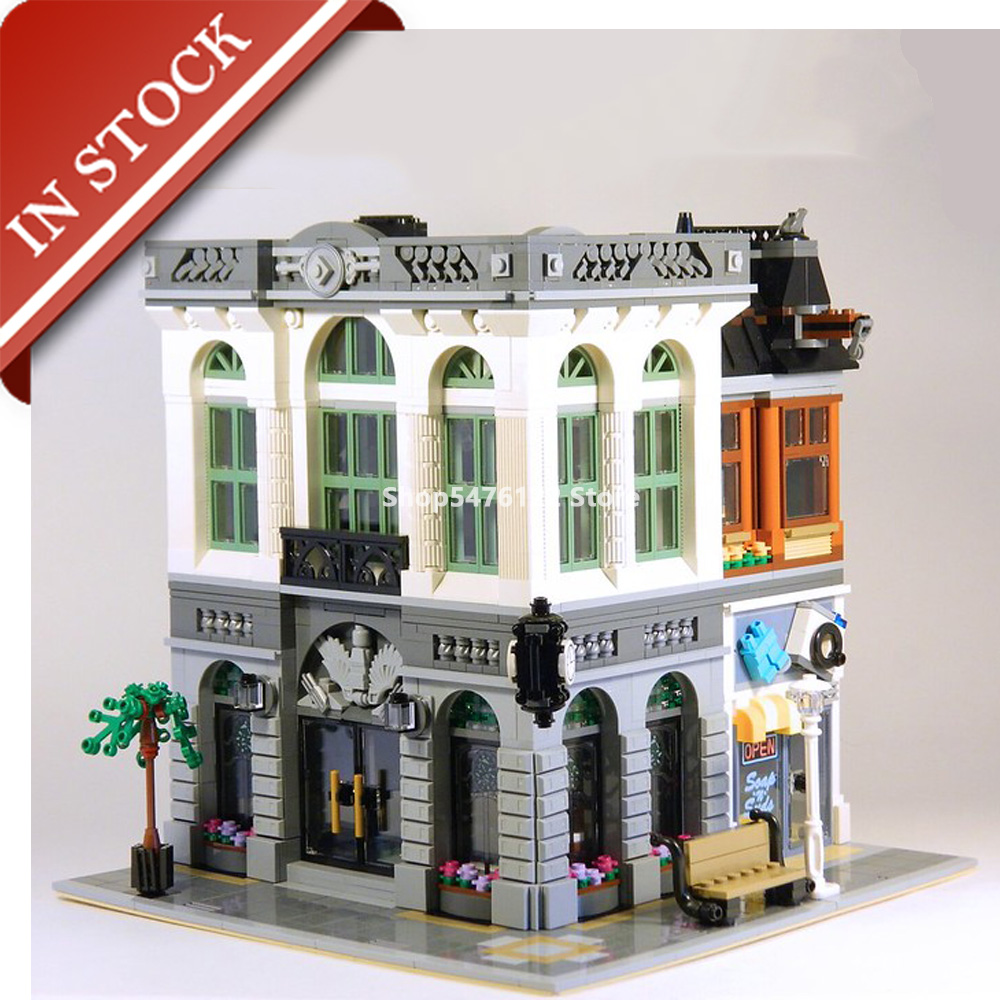 Street View Series Brick Bank <font><b>10251</b></font> 15001 In Stock Building Blocks 2300+Pcs Creator Expert Bricks Construction Set image