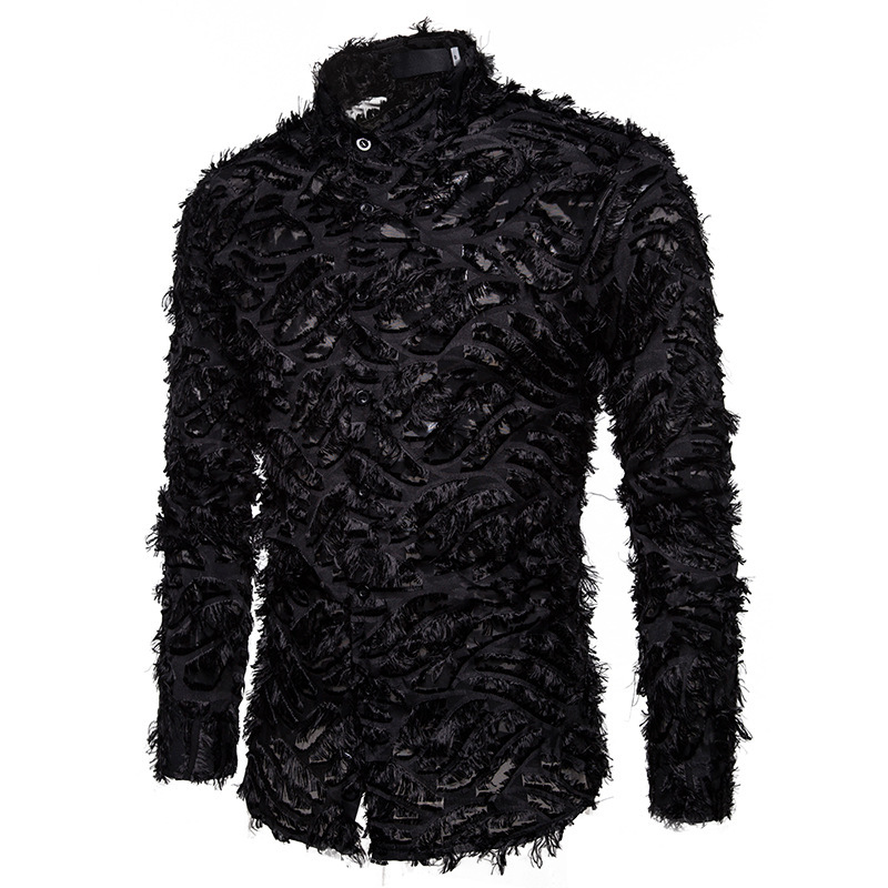 New Spring Men's Shirt Handmade Three-dimensional Feather Fabric Features A Lapel Long Sleeve Shirt