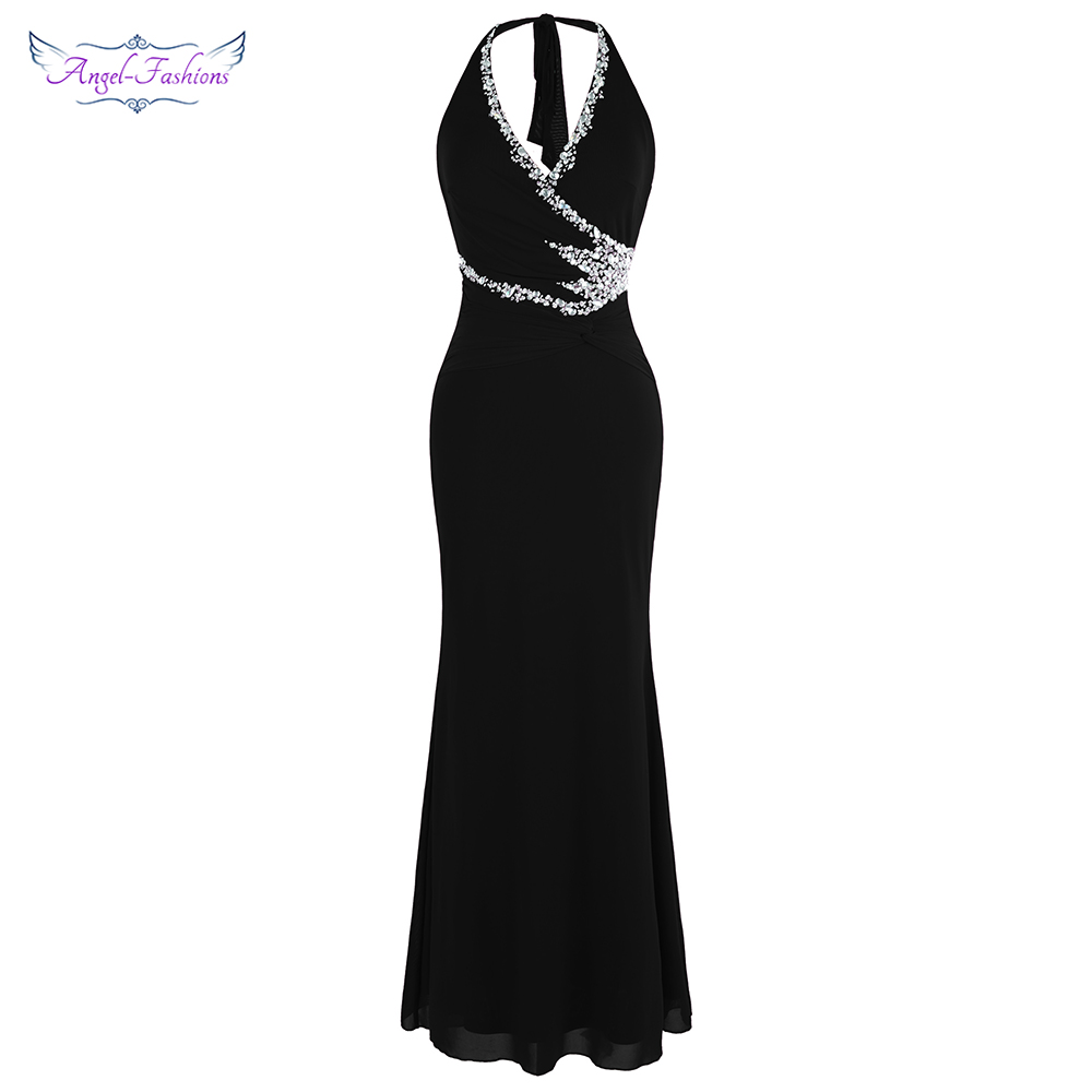 Angel-fashions Halter Beading Black Evening Dresses Long Formal Party Gown 474 484