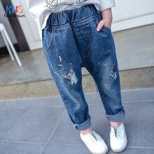 Рваные джинсы для девочек с мультяшным принтом модные джинсовые