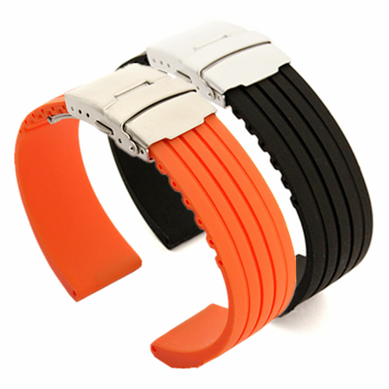 Silicone Rubber Watch Band for Oris Men Women Stainless Steel Safety Buckle Strap Wrist Belt 18mm 20mm 22mm 24mm|Watchbands| |  - title=