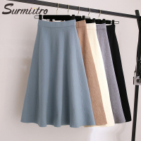 SURMIITRO Warm Knitted Midi Skirt Women For Autumn Winter 2019 Casual Koreaan Ladies High Waist A Line Long Skirt Female