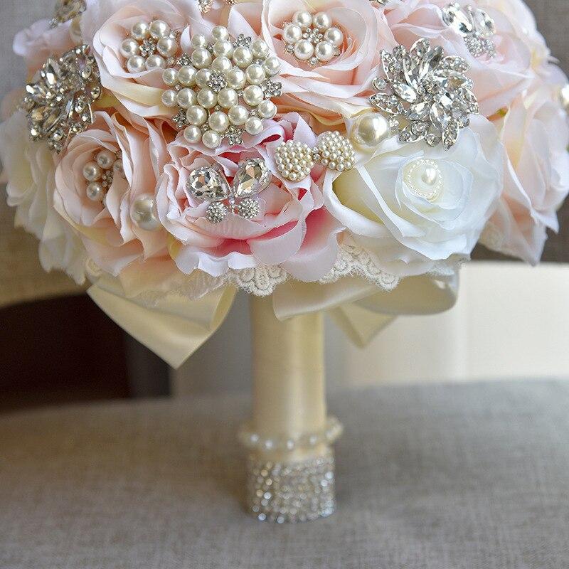25 см для свадьбы искусственные цветы, шелковые стразы, цветы розы, растения, букет, украшение дома, роскошный подарок на день Святого Валенти... - 5