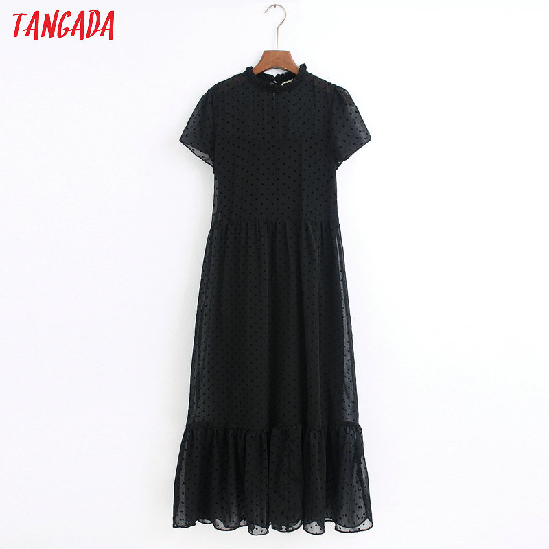 Tangada 2020 Fashion Women Dots Black Dress Ruffles Collar Short Sleeve Ladies Elegant Midi Dress Vestidos 6Z38