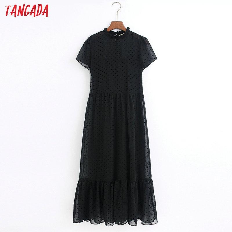 Tangada 2020 Fashion Women Dots Black Dress Ruffles Collar Short Sleeve Ladies Elegant Midi Dress Vestidos 6Z38