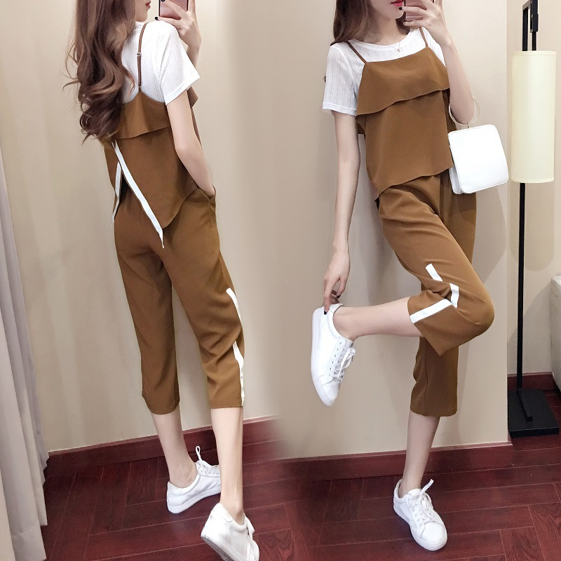 Sports Clothing WOMEN'S Suit 2018 Summer Korean-style Fashion Short Sleeve Loose-Fit Casual Slimming Loose Pants Three Pieces