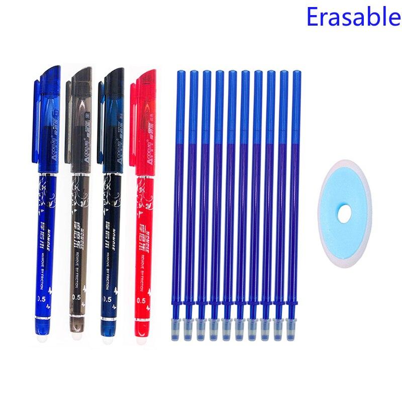 Erasable Pen Set 0.5mm Blue Black Color Ink Writing Gel Pens Washable Handle For School Office Stationery Supplies