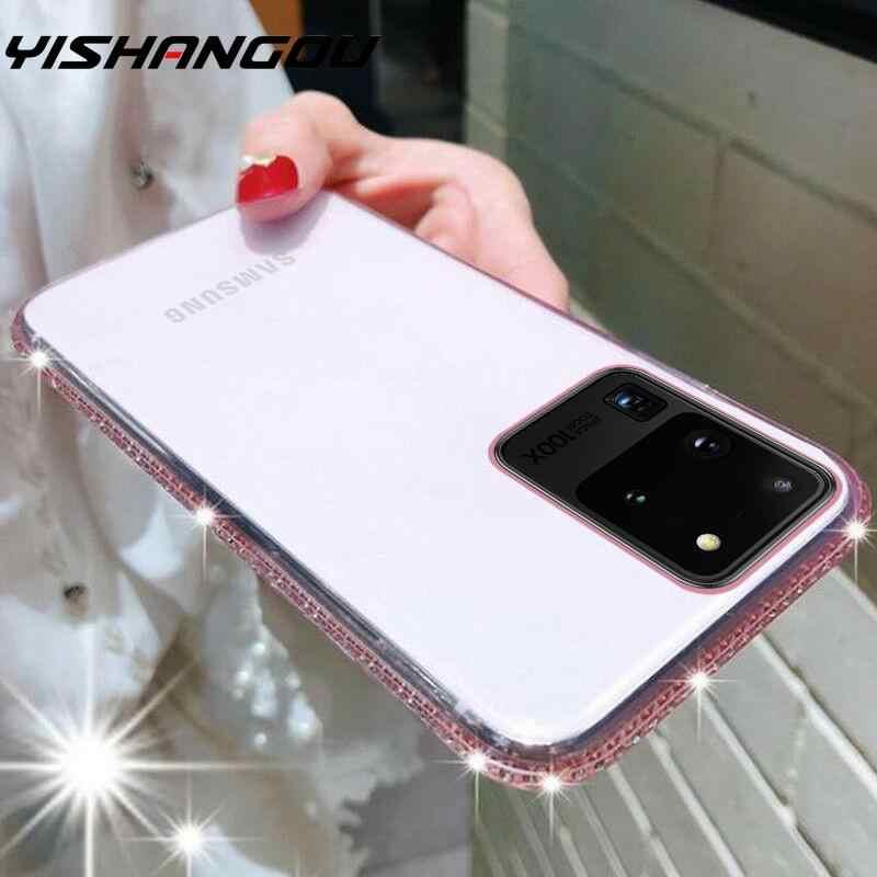 Bling Kim Cương Trong Suốt Ốp Lưng Điện Thoại Samsung Galaxy S20 Cực A51 A71 A70 A50 A40 A20 Note 10 Plus Mềm Mại ốp Lưng Silicone