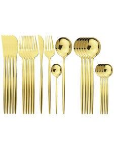 Dinnerware-Set Tableware Kitchen 304-Stainless-Steel Spoon Cutlery-Set Knives-Fork Gold