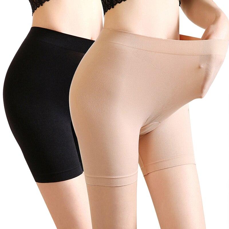 Мягкая трикотажная Безопасность шорты женские джинсы с высокой талией антифрикционных трусы трусики для женщин размера плюс бесшовные тру...