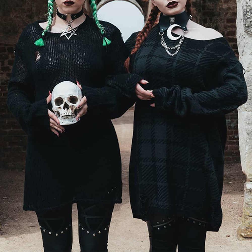 Gothic Dark Punk Moon czarny seksowny naszyjnik łańcuch Chocker kobiety obroża ze sztucznej skóry naszyjnik łańcuszek metalowy łańcuszek biżuteria