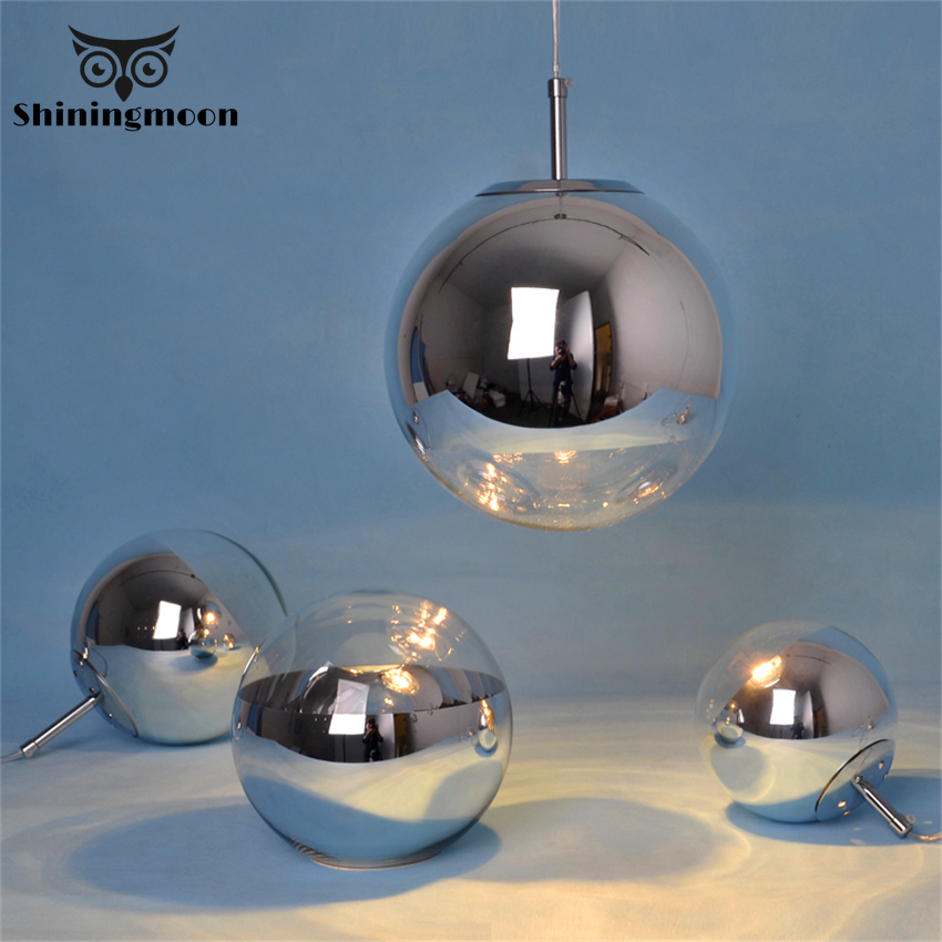 Modern Glass Ball Pendant Lights Mirror Shade Globe Ball Round LED Pendant Lamp LOFT Luminaire Bedroom Home Decor Hanging Light