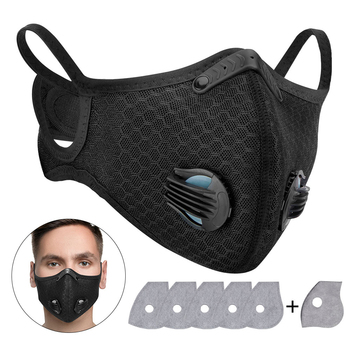 PM2.5 Activated Carbon Mask Respirator Dust Mask Replaceable Filters Anti-Pollution Cycling Sport Motorcycle Face Mask Reusable