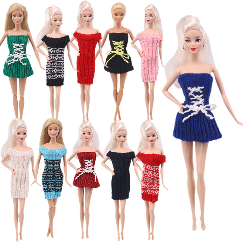 New Strapless Sweater Dress With Thin <font><b>Sexy</b></font> Skirt Print Accessories Dress Suitable Barbiees Doll Children's Toys Generation Gift image