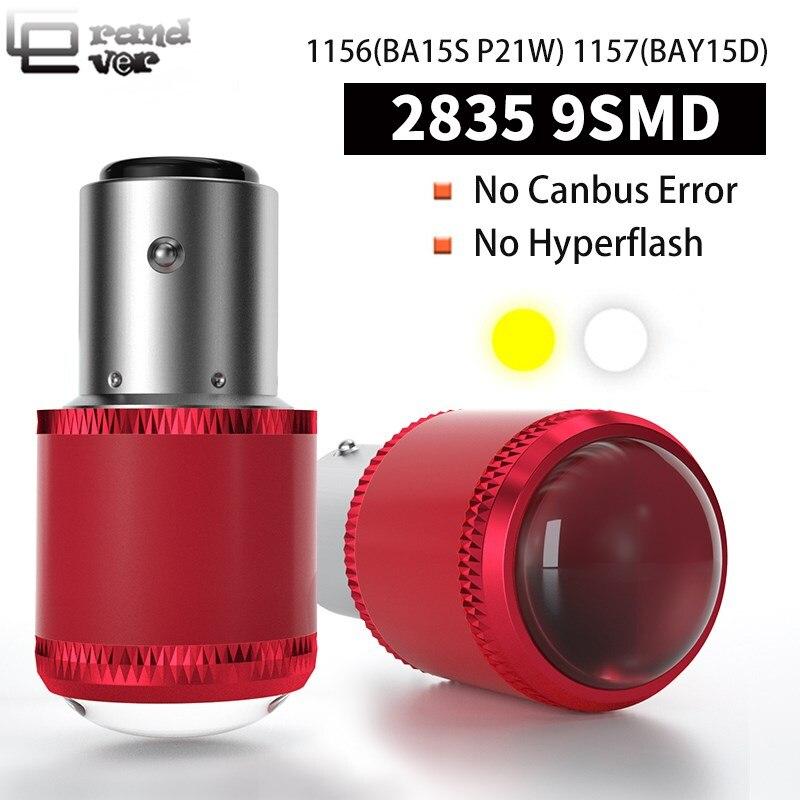 2 pçs 1156 ba15s led para a luz do sinal de volta p21w py21w led 1157 bay15d led w21 2835 9smd para luz de freio invertendo lâmpada luz traseira
