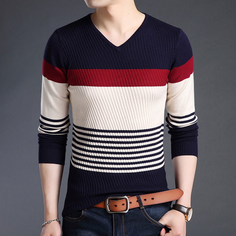 YUSHU New Autumn Fashion Brand Casual Sweater V-Neck Slim Fit Mens Sweaters Korean Style Pullovers Knitwear