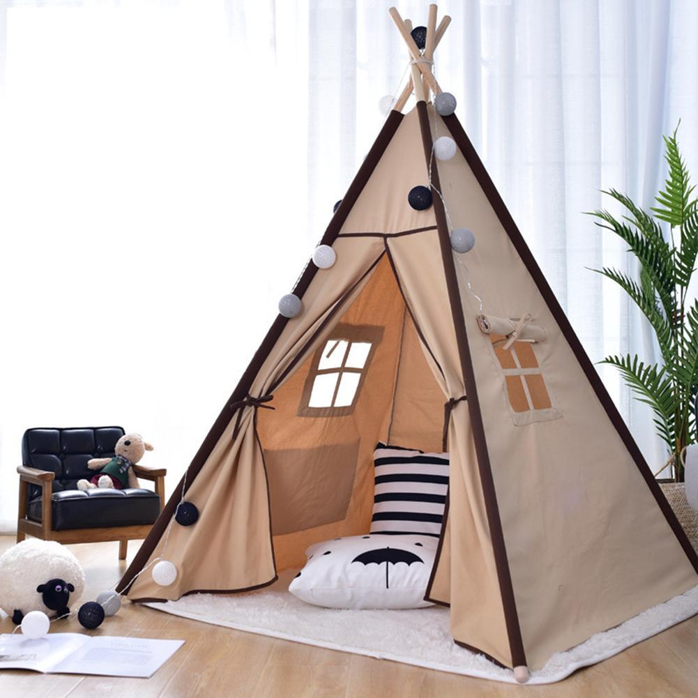 2020 Portable Cotton Canvas Tipi Children's Tent Original Triangle Indian Kids Tent Little House Folding Children's House