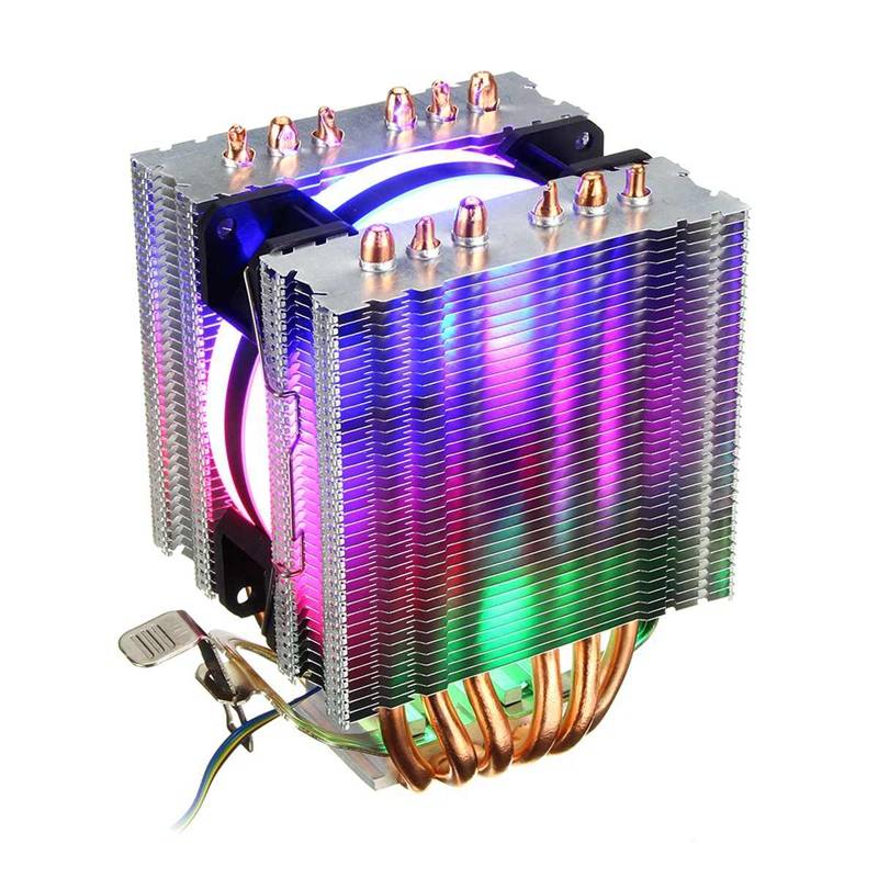 6 Heat Pipe Cpu Cooler Led Fan 3 Line Cpu Fan Cpu Heatsink For Intel 775/1150/1155/1156/1366 For Amd All image
