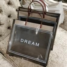50pcs Fashion High Clothing Store Bag Transparent Hand Carrying Clothes Packing Portable Shopping Duty Free Shop Gift Handbag