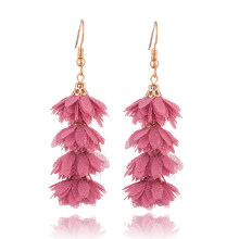 new Fashion cloth flower long fringe earring Boho Handmade tassel dangle drop earrings Women Charm party wedding jewelry gift(China)