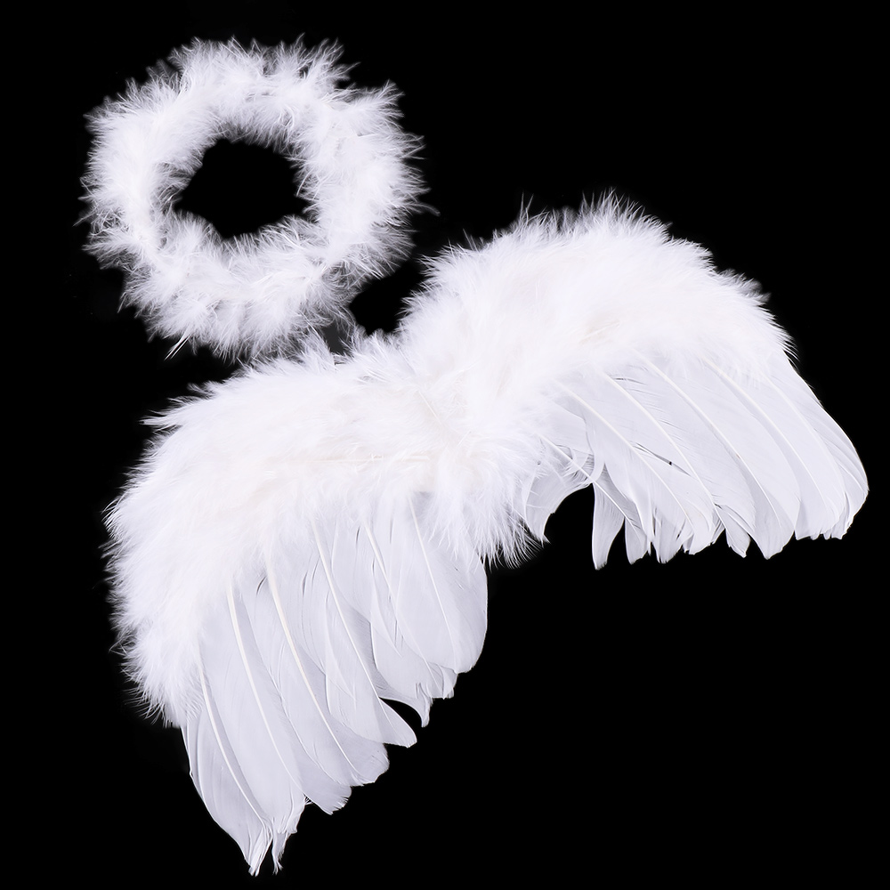 1 Set White Feather Angel Wings Headband For Infant Newborn Birthday Party Decoration Photography Props