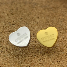 Heart-Earring Fashion Jewelry Women Accessories Rose-Gold Stainless-Steel Wholesale Gifts